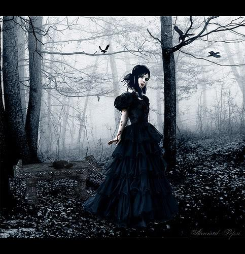 girl, forest, gothic