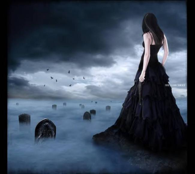 girl, death, foggy, gothic