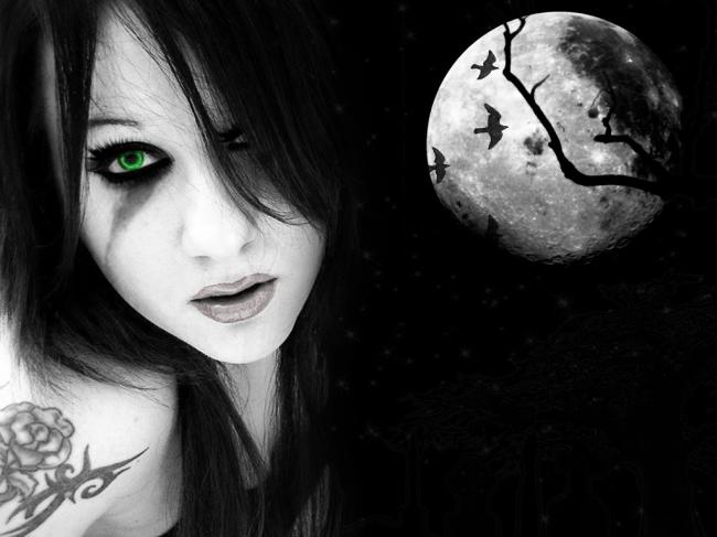 gothic,creepy,girl,moon,dark