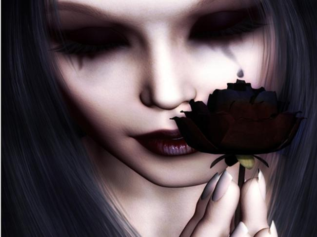 rose,black,tears,weeping,girl