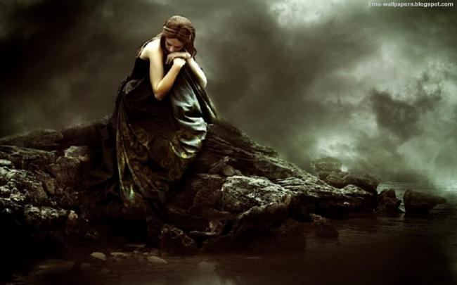 sorrow, dejected, alone, gloomy, dark, darkness