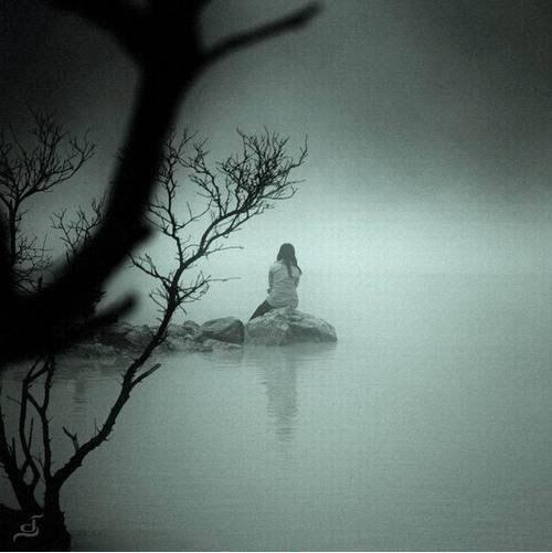 lonely, alone, girl, river