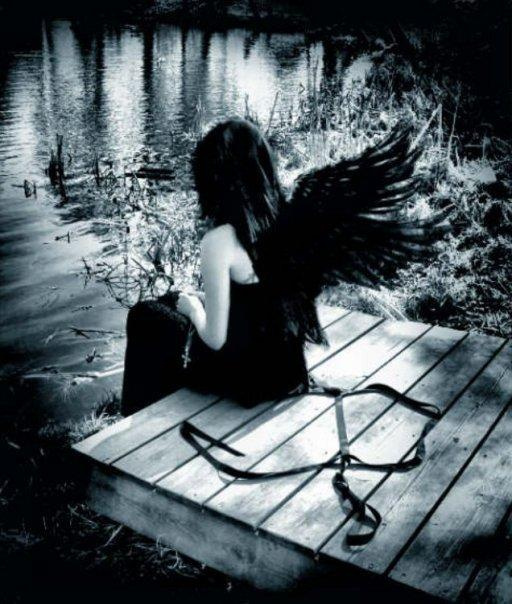 angel,black,river,girl
