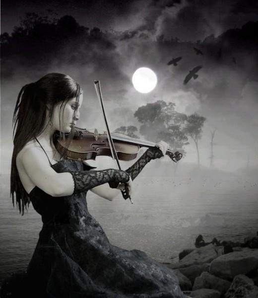 girl,beauty,violin,moon,river