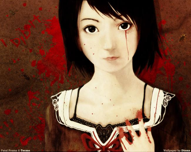 creepy,anime,girl,blood